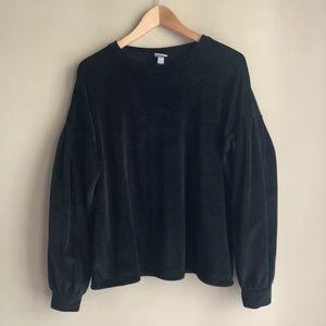 A New Day Black Velvet Puff Sleeve Sweatshirt